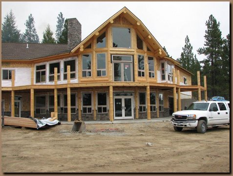 Log Integrated walls with conventional framing