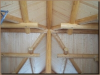 Log Purlins where valleys come together